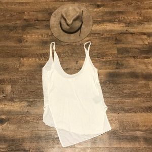 Improvd White Asymmetrical Hem Linen Tank Top S
